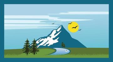 Berglandschaft mit Bäumen, Himmel, Sonne, Kiefer, Fichten, Flussdesign vektor