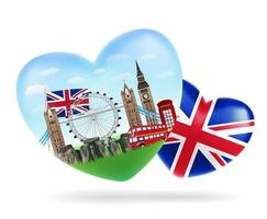Liebe England Herzform Logo mit England Flagge vektor