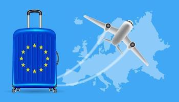 Flugzeugreise Europa mit Gepäck auf Weltkarte vektor