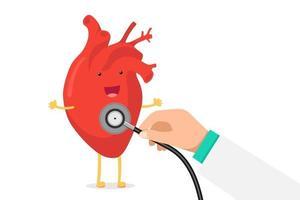 niedliche Karikatur lächelnd gesundes Herz Charakter glücklich Emoji Emotion und Hand halten Stethoskop Check Rate. lustige Kreislauforgan-Kardiologie. Vektor-EPS-Illustration vektor
