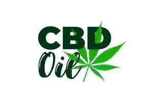 cbd Hanföl aus medizinischem Cannabisextrakt. Marihuana-Blatt-Symbol-Produktetiketten-Designschablone. isolierte Vektorillustration vektor