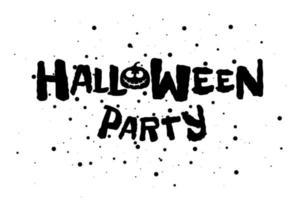 lycklig halloween fest läskig semester text banner med jack o lykta spooky pumpa siluett. vektor gratulationskort bokstäver design mall inbjudan illustration