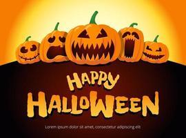 lyckliga halloween semesterpumpor under månsken. jack o lantern party på suddig bakgrund och inskription gratulationskort designmall. vektor tecknad inbjudan illustration
