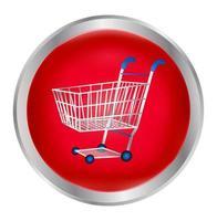 Einkaufswagen in einem roten Knopf vektor