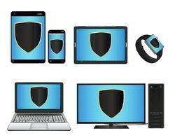 Smart Device und Computer mit Schutzschild vektor