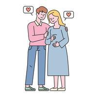 ein Paar, das seine Schwangerschaft feiert. flache Designart minimale Vektorillustration. vektor