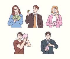 Leute halten Sparschweine für die Vermögensverwaltung. Hand gezeichnete Art Vektor-Design-Illustrationen. vektor