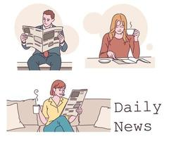 Leute, die Zeitung lesen. Hand gezeichnete Art Vektor-Design-Illustrationen. vektor
