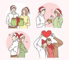 Ein Paar mit Weihnachtsmützen schenkt ein Geschenk. Hand gezeichnete Art Vektor-Design-Illustrationen. vektor