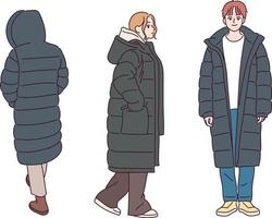 Menschen, die Winter Daunenjacken tragen. Hand gezeichnete Art Vektor-Design-Illustrationen. vektor