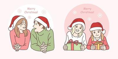 ein Paar und Schwestern in Weihnachtsmützen. Hand gezeichnete Art Vektor-Design-Illustrationen. vektor