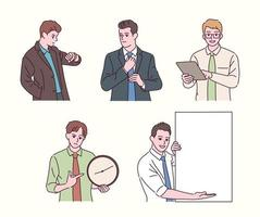 verschiedene Gesten eines Geschäftsmannes in einem Hemd. Geschäftsleute verschiedener Gesten. Hand gezeichnete Art Vektor-Design-Illustrationen. vektor