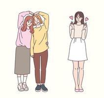 Freunde machen Herz mit ihren Armen und Fingern. Hand gezeichnete Art Vektor-Design-Illustrationen. vektor