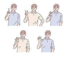 ein Mann, der mit den Fingern eins bis fünf zählt. Hand gezeichnete Art Vektor-Design-Illustrationen. vektor