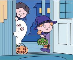 Kinder in Halloween-Kostümen stehen vor der Tür und schauen ins Haus. Hand gezeichnete Art Vektor-Design-Illustrationen. vektor