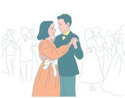 Paare in Kleidern und Anzügen tanzen auf der Party. Hand gezeichnete Art Vektor-Design-Illustrationen. vektor