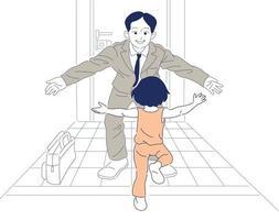 Wenn Papa nach der Arbeit nach Hause kommt, rennt das Kind zu Papa. Hand gezeichnete Art Vektor-Design-Illustrationen. vektor