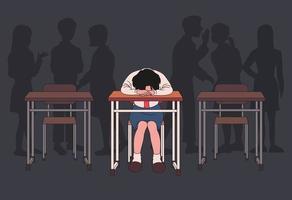 Eine Studentin legt sich auf ihren Schreibtisch und trauert. dunkler Klassenzimmerhintergrund und Schatten von Mobbingkindern. Hand gezeichnete Art Vektor-Design-Illustrationen. vektor