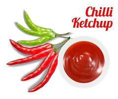 Chili Ketchup Suace in Schüssel mit Chili vektor