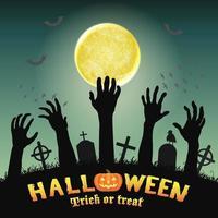 halloween silhuett zombie händer i nattkyrkogården vektor