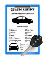 auto service bil kontrollblad med bil fjärrnyckel vektor