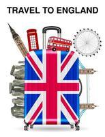 Reisetasche offen mit England Wahrzeichen im Inneren vektor