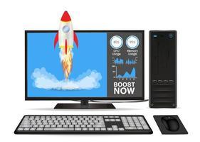 Boost-Geschwindigkeit Desktop-Computer mit Spielzeugrakete vektor