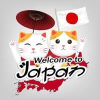 zwei maneki neko willkommen in japan vector