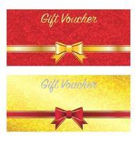 goldene und rote Geschenkgutscheinkarte vektor