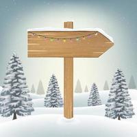 Weihnachtsrichtungsholzbrettzeichen auf Schnee vektor