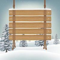 Holzbrett mit Schnee Winterhintergrund hängen vektor