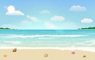 tropischer Hintergrundvektor des Sandstrand-Sommers vektor