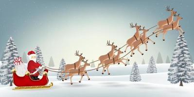 Weihnachtsmann Rentier auf Weihnachten Winterwald vektor