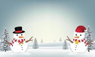 zwei Schneemänner im Waldwinterhintergrund vektor