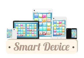 Smart Device Wood Board mit Smartphone und Tablet vektor