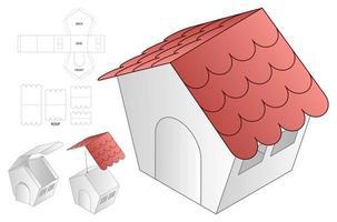 Hausform Papiertüte Verpackung gestanzte Vorlage vektor