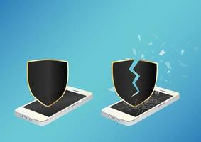 Smartphone mit geschütztem Schild und kaputtem ungeschütztem Schild vektor