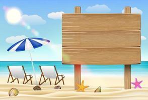 Holzbrett Zeichen auf Meersandstrand mit Stühlen vektor
