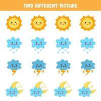 Finde in jeder Reihe ein anderes Wetterelement. logisches Spiel für Kinder im Vorschulalter. vektor