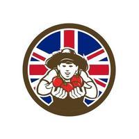 Landjunge, der Hut mit der Übergabe von Tomate Großbritannien trägt vektor