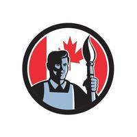 Maler Künstler hält Pinsel Fackel Kanada Flagge Maskottchen vektor
