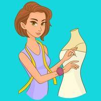 Frau Näherin schafft ein Kleid vektor