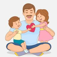 Vater feiert den Vatertag, umgeben von der Liebe seiner Kinder vektor