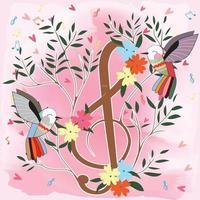 bunte Vögel und Musiknotenblumenbaum vektor