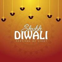 shubh diwali festivalen för ljus firande gratulationskort med vektorillustration vektor