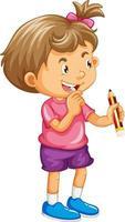 liten flicka seriefiguren håller en penna vektor