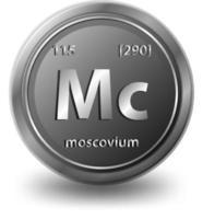 Chemisches Symbol des chemischen Elements Moskau mit Ordnungszahl und Atommasse vektor