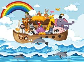 Noahs Arche mit Tieren in der Ozeanszene vektor