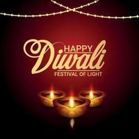 lycklig diwali indisk festival firande gratulationskort med vektorillustration av diwali diya vektor