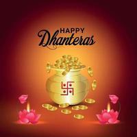 shubh dhanteras das fest der indienfeier mit kreativem goldmünztopf und lotusblume vektor